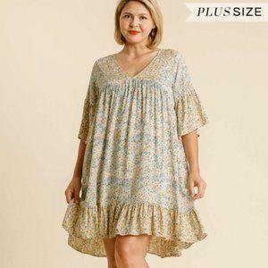 Umgee Plus Mint Mix Floral Print Ruffle Hem Dress